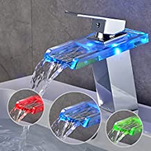 AuraLum Basin LED Faucet Waterfall with Single Handle for Bathroom Vanity Sink, Glass Chrome RGB Mixer, Spout Height (4.13 inch)
