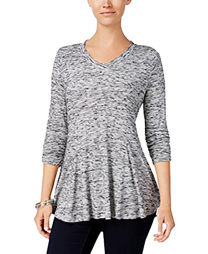Style & Co. Spacedyed Flared-Hem Tunic (Grey, Small) (& Co . Spandex Tunic Style)