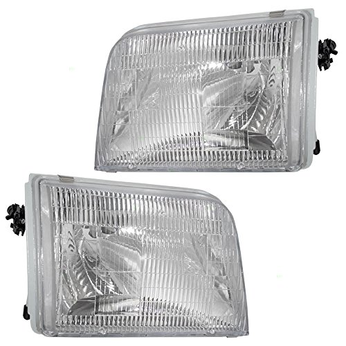 Driver and Passenger Headlights Headlamps Replacement for Ford Pickup Truck F37Z13008B F37Z13008A -