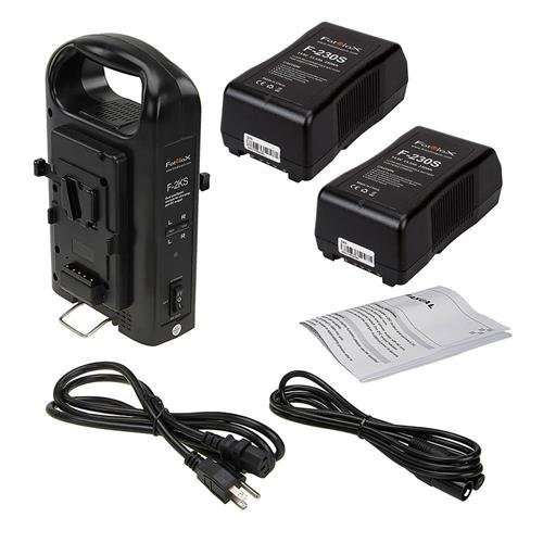 Sony Stand A/v (Fotodiox VBatt-Chrgr-Stand-Kit-2xF230S Dual Position Battery Charger Kit with Two 14.8V 230WH Li-Ion V-Mount Batteries Power Supply Stand for Pro Flapjack & Factor Series LED Lights Black)