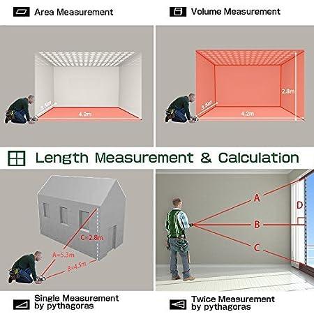 BEVA T/él/ém/ètre Laser 100m 328ft High Precision Distance Laser m/ètre Digital Mesure avec Deux Bulle Niveau Laser Mesure Outil avec Batterie Incluse /étanche IP54 R/étro-/éclairage /écran LCD