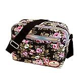 ZOONAI Women Canvas Crossbody Messenger Shoulder Sling Bag Floral Handbag Purse (Black)