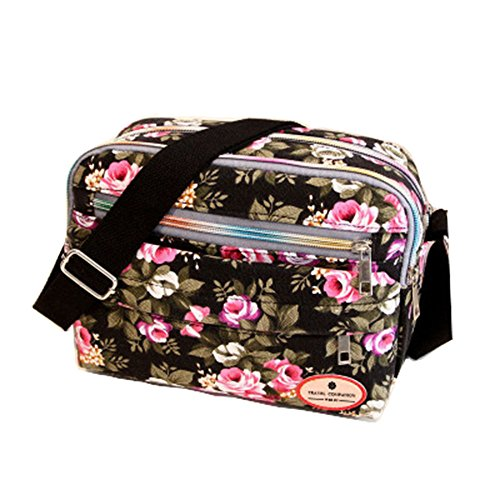 ZOONAI Women Canvas Crossbody Messenger Shoulder Sling Bag Floral Handbag Purse (Black) by ZOONAI