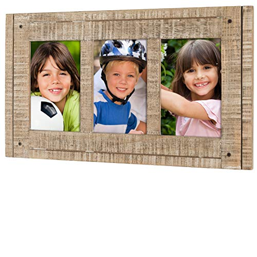 Rustic Three Picture Frame: Holds Three 4x6 Photos Overall Size 15.5x9: Shabby Chic, Driftwood, Barnwood, Farmhouse, Reclaimed Wood Picture Frame. Ready to Hang or use on Tabletop