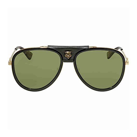 7d28d18cd9 Gucci GG0062S BLACK LEATHER GOLD GREEN women Sunglasses  Amazon.co.uk   Clothing