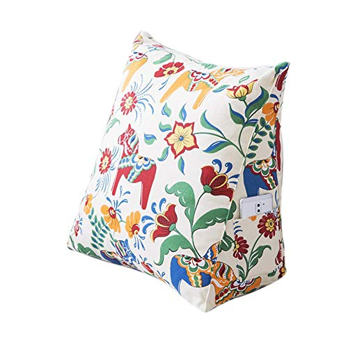 Bed Wedge Pillow Triangle cushion Cotton Canvas Pillow Cartoon Pattern Backrest Back Cushion Bed Triangle Cushion to Elevate Upper Body Sofa Removable Waist Pillow Triangle Shaped for Reading