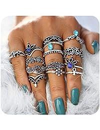 Vintage Knuckle Rings Set Multi Cactus Crystal Crown Elephant Animal Stacking Rings 8/12/13 Pack