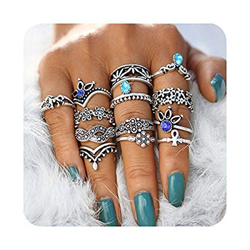 Hanloud Vintage Silver Crystal Joint Knuckle Nail Ring Set Multi Flower Unicorn...