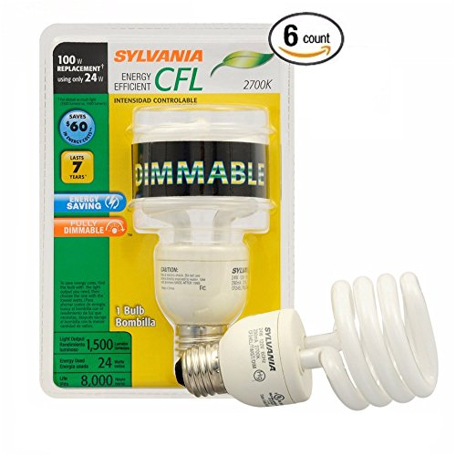 Sylvania CFL 2700K 100W Replacement Bulbs, Soft White, Dimmable, 6-Pack ()