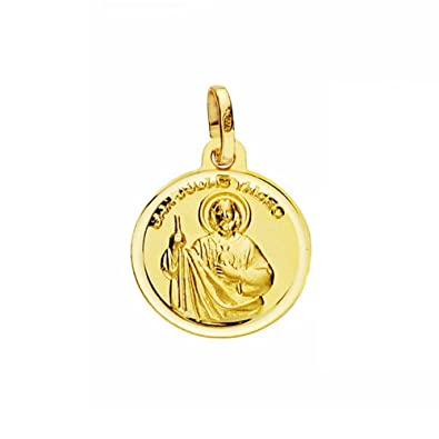 18k gold medal 14mm St. Jude Thaddeus. smooth bezel [AA2666] DQDHi