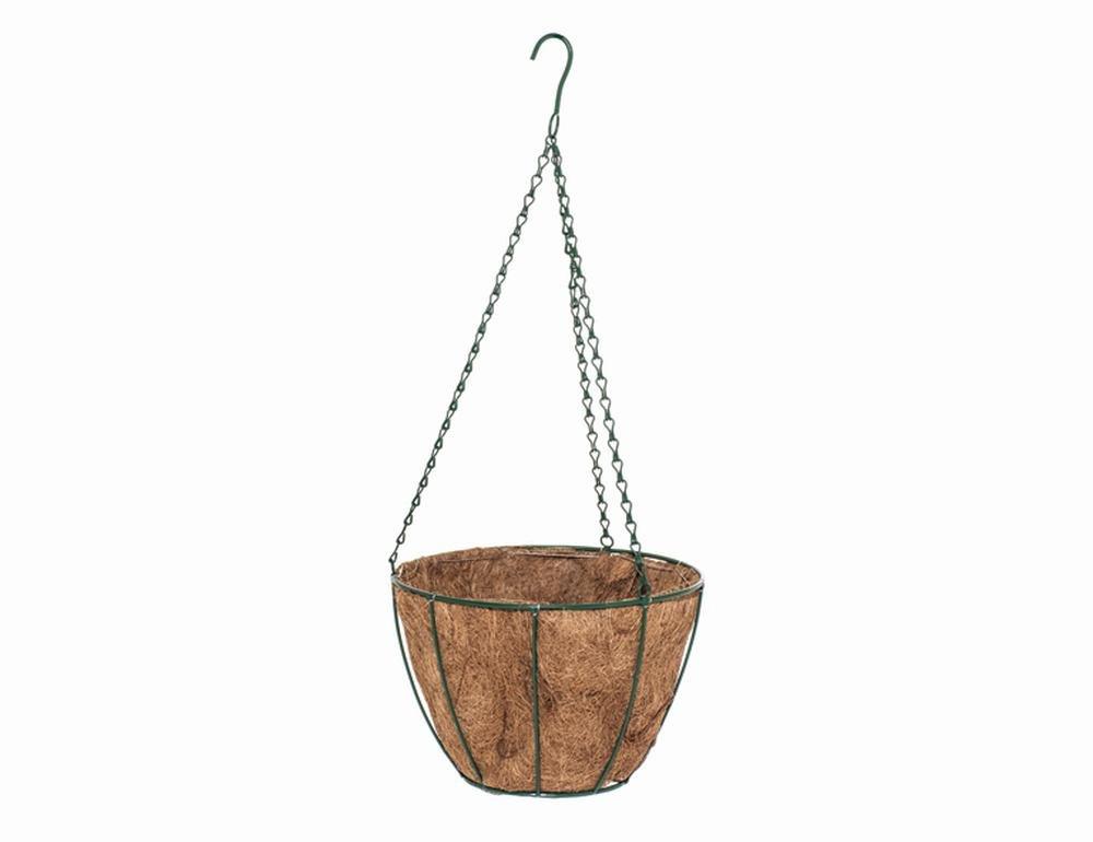 10 Stück SIENA GARDEN Hängeampel 35x20cm grün mit Kokoseinlage
