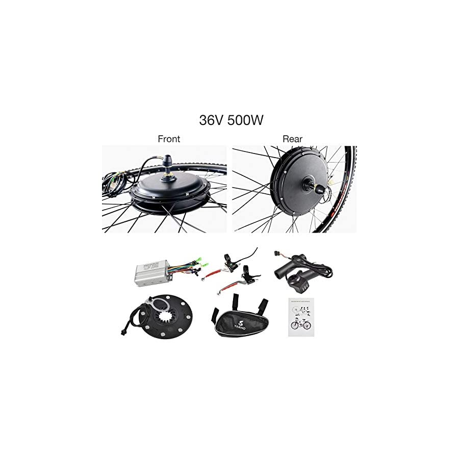 Murtisol Electric E Bike Motor Kit 26'' Front Wheel/Rear Wheel 36V 500W/48V 1000W Bicycle Motor Conversion Kit