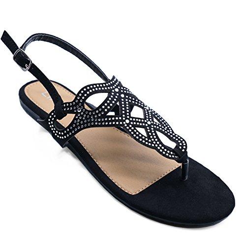 HeelzSoHigh Damen Flach Schwarz Zehensteg Strass Sommer Sandalen Flip-Flops Holiday Schuhe Größen 3-8