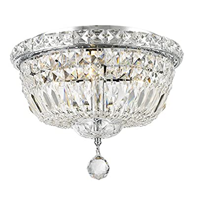 "Worldwide Lighting Empire Collection 4 Light Chrome Finish and Clear Crystal Flush Mount Ceiling Light 12"" D x 9"" H Round Small"