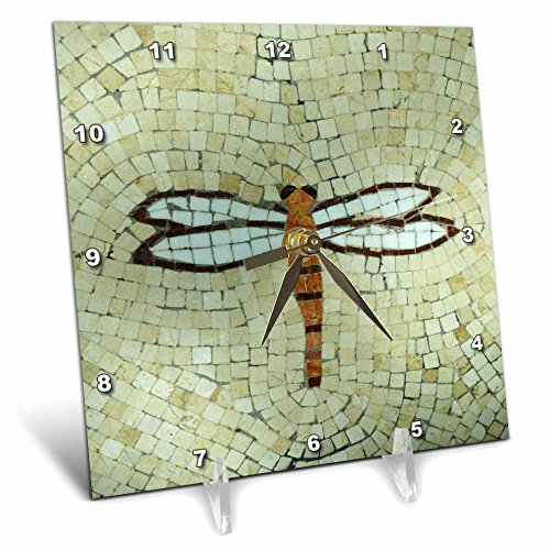 3dRose dc_29712_1 Dragonfly on Beige-Desk Clock, 6 by 6-Inch