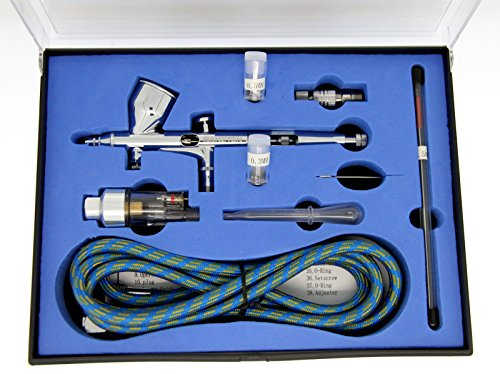 GANZTON 180K Airbrush Kit Dual Action Air Brush Kit Spray Gun Air Hose with 0.2mm/0.3mm/0.5mm Needle for Tattoo, Cake Decorating, Nail Beauty, Painting
