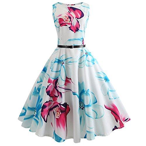 Blue Pattern Dress - Birdfly Summer 10 Type Women Butterfly & Floral & Pineapple Pattern Hepburn Style Skirt Dress with Waist Belt Plus Size 2L (S, Blue(51))
