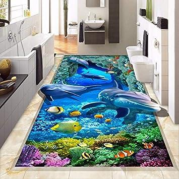 3D Boden Tapete Benutzerdefinierte Wandbild Meeresboden Delphin Bad ...