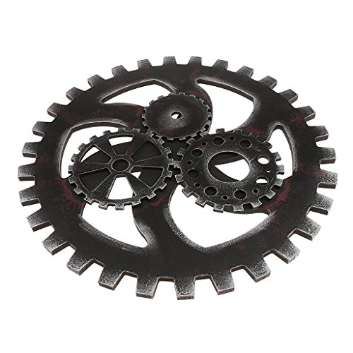 Jili Online Vintage Industrial Style Wooden Gear Ornaments for Club Bar Home Wall Hanging Decoration Black 40cm