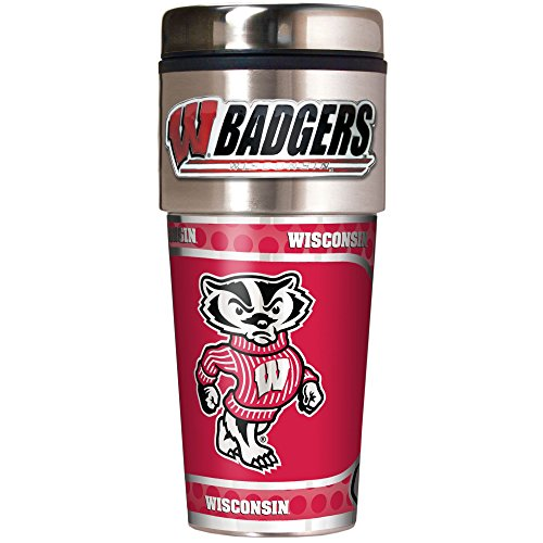 NCAA Wisconsin Badgers Metallic Travel Tumbler,  16-Ounce