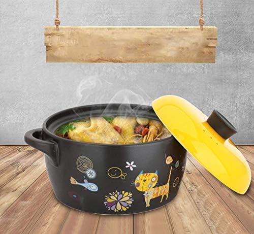 WZF Dessin animé Peint à la Main Casserole en céramique Pot de Soupe Pot de santé ragoût de Bouillie ménage Grande capacité Multi-Fonction Casserole Jaune (Taille: 4L)