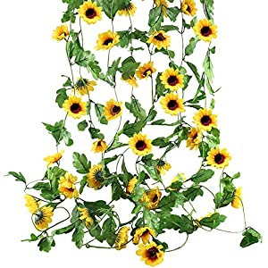HO2NLE 4Pcs 20 Feet Artificial Sunflowers Hanging Vine Silk Fake Flowers Garlands Home Office Garden Outdoor Wall Greenery Cover Jungle Party Decoration 25