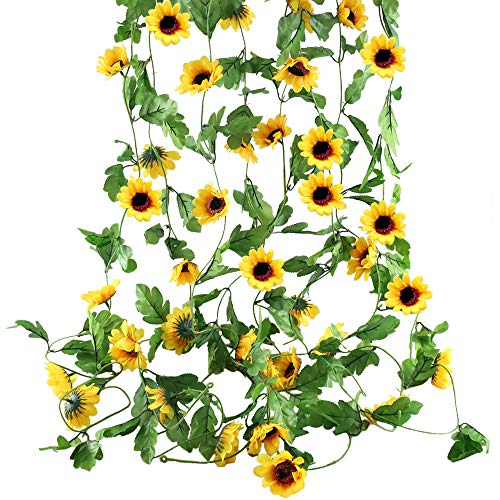 HO2NLE 4Pcs 20 Feet Artificial Sunflowers Hanging Vine Silk Fake Flowers Garlands Home Office Garden Outdoor Wall Greenery Cover Jungle Party Decoration -