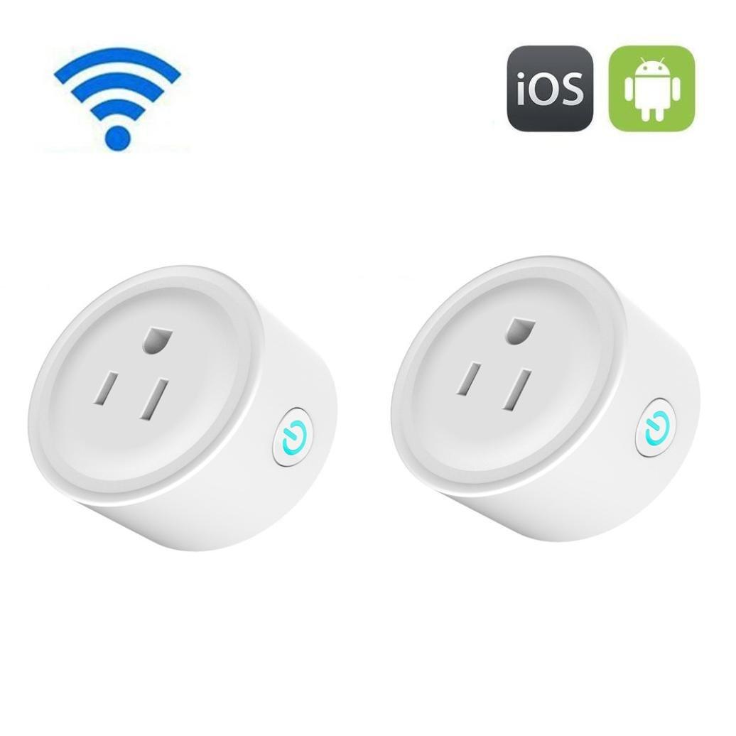 2X US Plug Wireless Smart Power Socket Wifi Mini Switch Remote Control Timer Outlet (White)