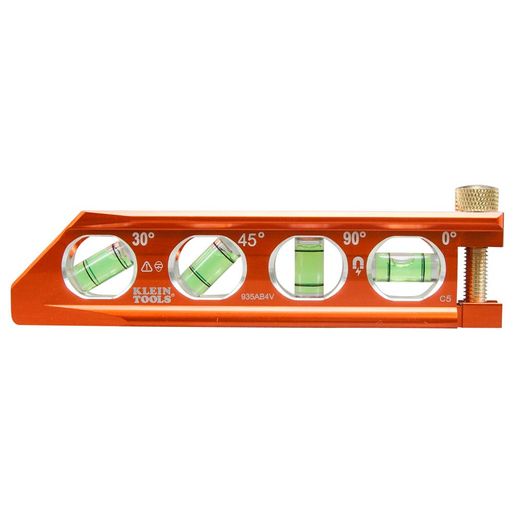 Klein Tools 935AB4V Torpedo Level, Magnetic, 4 Vial for Conduit Bending & More with V-Groove & Magnet Track by Klein Tools