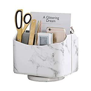 UnionBasic 360 Degrees Rotatable Desk Organizer, Spinning Remote Control/TV Guide/Mail/Media Desktop Organizer Caddy Holder (Marble White)