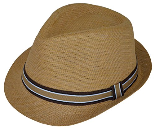 BePe Baby Little Boys' Straw Fedora Hat -One Size - Khaki - 3 to 6 Years