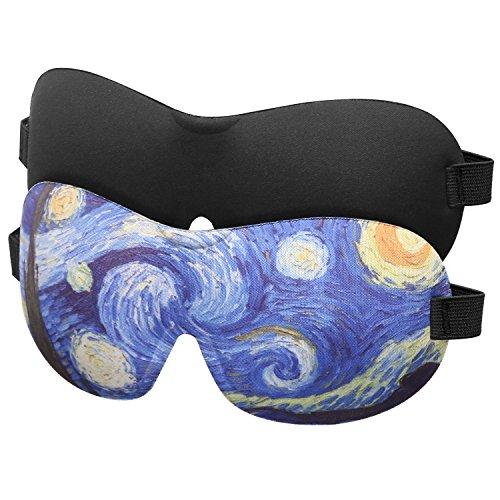 Eye Mask, [2 Pack] Contoured Sleep Mask for Women & Men, Soft Sleeping Eyeshade Blindfold with Adjustable Strap