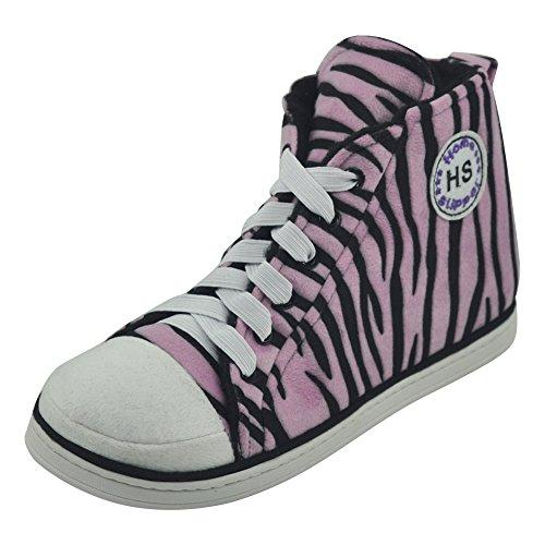 Casa Pantofola Uomo Inverno Caldo Peluche Casa Coperta Moda Allaperto Scarpette Da Ginnastica Stivali Zebra Rosa