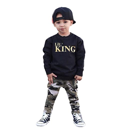 01542b371 Kids Outfits,Laimeng_world Toddler Baby Boy 2PCs Letter T shirt  Tops+Camouflage Pants Clothes Set