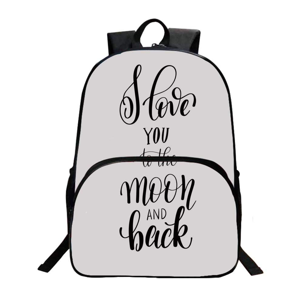 I Love You Fashionable Backpack,Minimalist Stylized I Love You to the Moon and Back Typography Togetherness for Boys,11.8''L x 6.2''W x 15.7''H by TecBillion