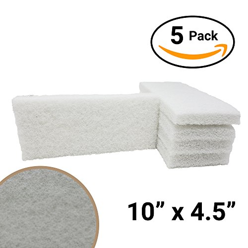 For Your Water Commercial-Grade Non-Abrasive White Cleaning Pad 5 Pack Large, Multi-Purpose 10 in x 4 1/2 in Scouring Pad Fits Universal Holders for Scrubbing Sinks, Tile, Windows and Fine China ()