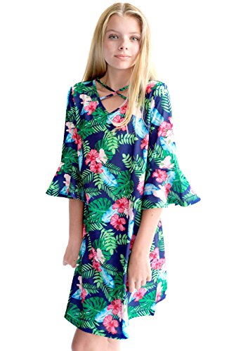 Smukke, Big Girls Crisscross Neck and Tiered Ruffles Sleeves Dress (Many Options) 7-16 (7, Tropical) ()
