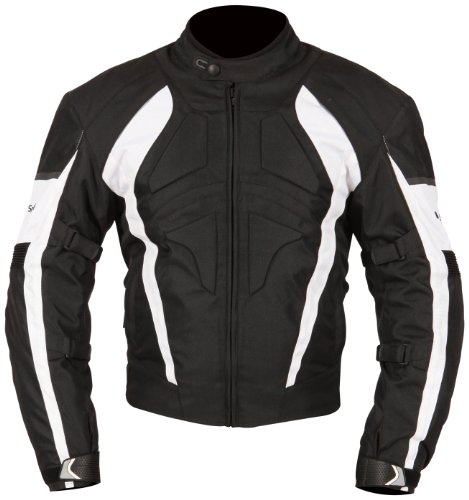 Milano Sport Gamma Motorcycle Jacket with White Accent (Black, Small) by Milano Sport