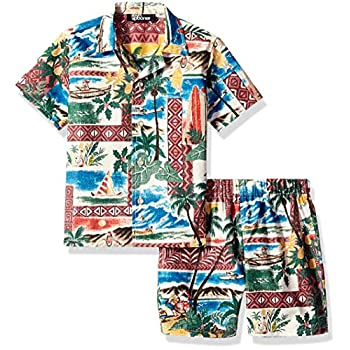 Reyn Spooner Boys' Toddler Hawaiian Christmas Cabana Shirt & Brief Set