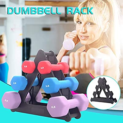 Amlaiworld Dumbbell Rack Stand 3 Tier Dumbbells Hand Weights Sets Holds 30 Pounds (Black_C): Clothing