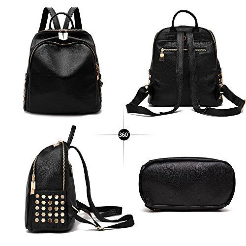 (JVP 1036-C) mochila de las mujeres mochila impermeable de cuero de la PU de gran capacidad de la espalda de las mujeres bolso bonito mochila bolso de moda popular Roja