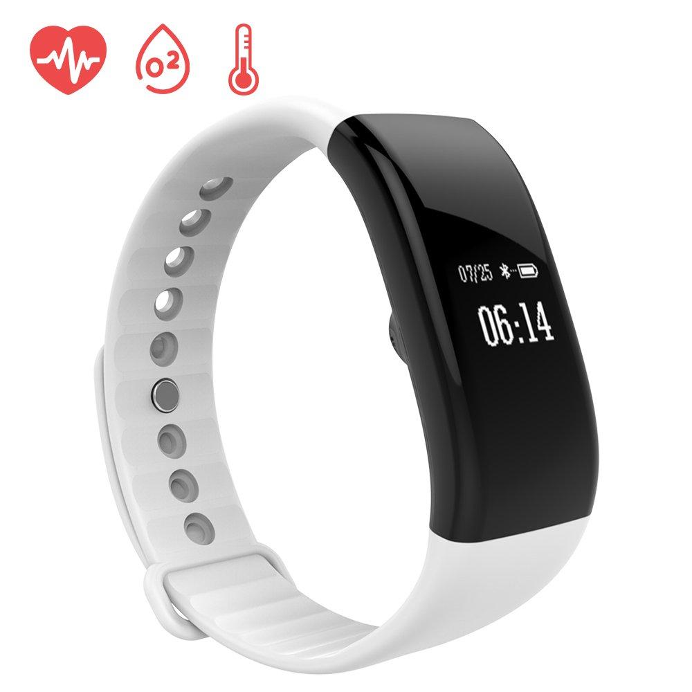 EWEMOSI Fitness Tracker - Heart Rate Blood Pressure Monitor - Bluetooth Wireless Smart Bracelet - IP67 Water Resistant Outdoor Activities Tracker - for Android IOS Smart Phones