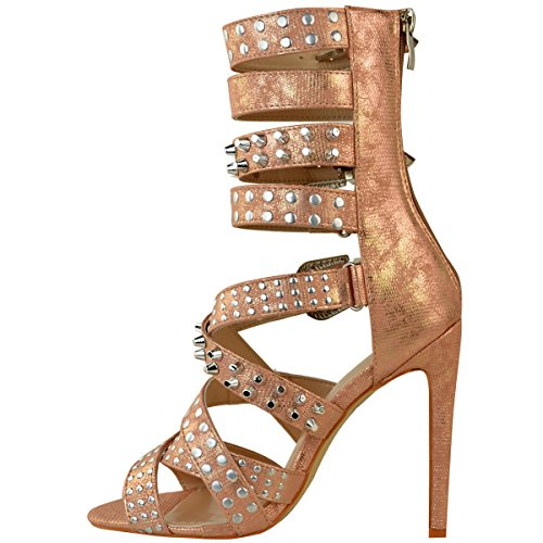 Heelberry® Womens Ladies Studded Stilettos High Heels Sandals Strappy Rock Party Punk Size Rose Gold Metallic Faux Lizard T6gslqeE