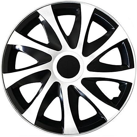 passend f/ür fast alle Fahrzeugtypen 13 Zoll Radkappen // Radzierblenden DRACO Bicolor Gr/ö/ße w/ählbar universal Schwarz-Weiss