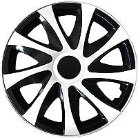(Größe wählbar) 14 Zoll Radkappen / Radzierblenden DRACO Bicolor (Schwarz-Weiss) passend für fast alle Fahrzeugtypen – universal