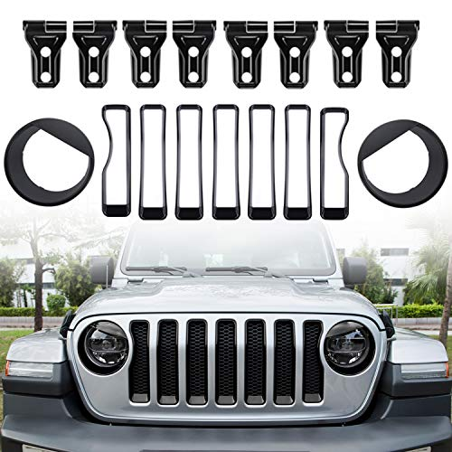 (Camoo for Jeep JL Headlight Covers,Grille Trim covers& Door Hinge covers ABS Fits Jeep Wrangler (JL/JLU) Sport 2018 2019)