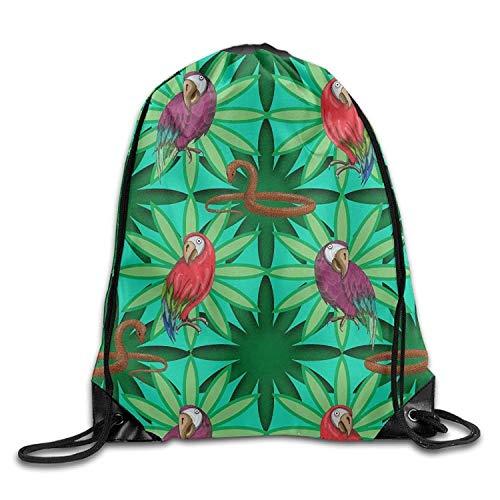 Beatybag 3D Print Drawstring Bags Bulk, Gym Drawstring Bags Parrot Snake Pattern Draw Rope Shopping Travel Backpack Tote Student Camping