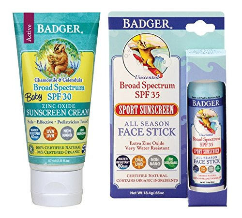 Badger Baby Sunscreen SPF 30+ and Face Stick (Baby Faces Sunblock Stick)