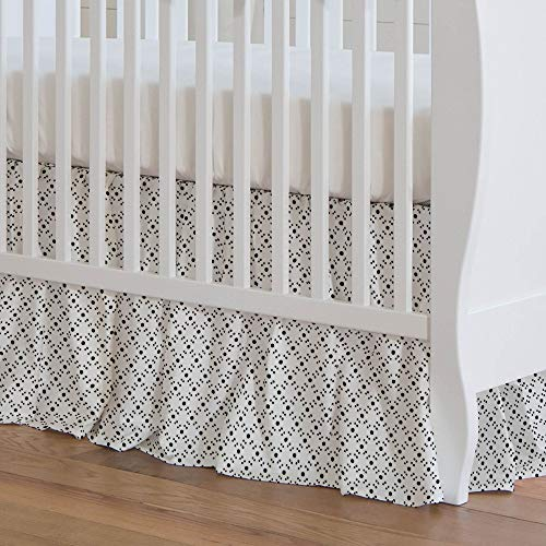 Carousel Designs Onyx Lattice Dots Crib Skirt 17-Inch Gathered 17-Inch Length - Organic 100% Cotton Crib Skirt - Made in The USA (Lattice Onyx)