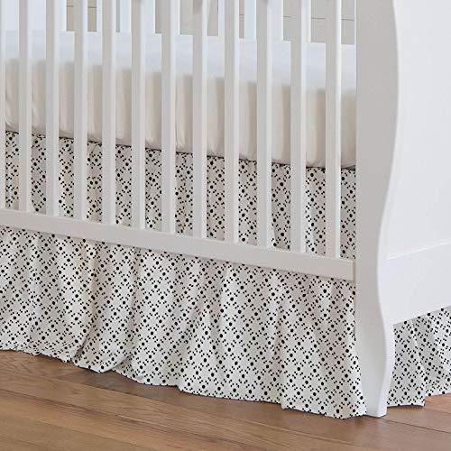Carousel Designs Onyx Lattice Dots Crib Skirt 17-Inch Gathered 17-Inch Length - Organic 100% Cotton Crib Skirt - Made in The USA (Onyx Lattice)